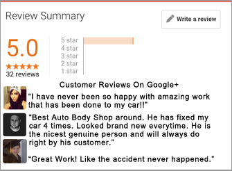 5 Star Google Reviews of Fred's Auto Body Shop New Jersey